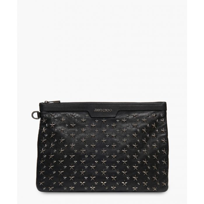 Image for Derek black leather clutch