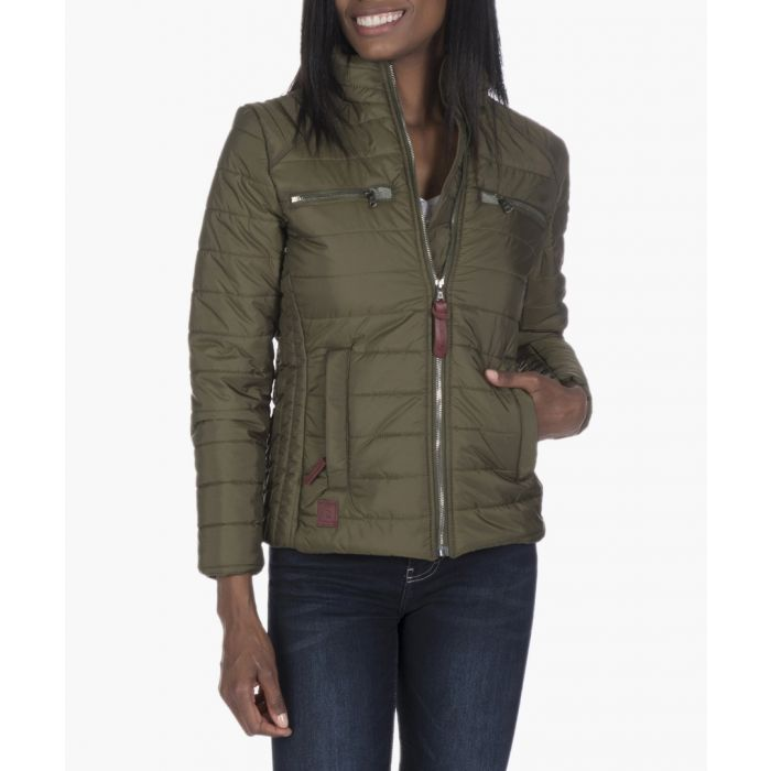 Image for Khaki green quilted jacket
