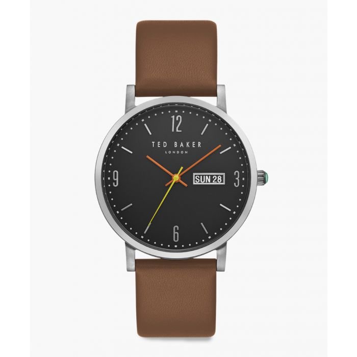 Image for Grant brown leather and stainless steel watch