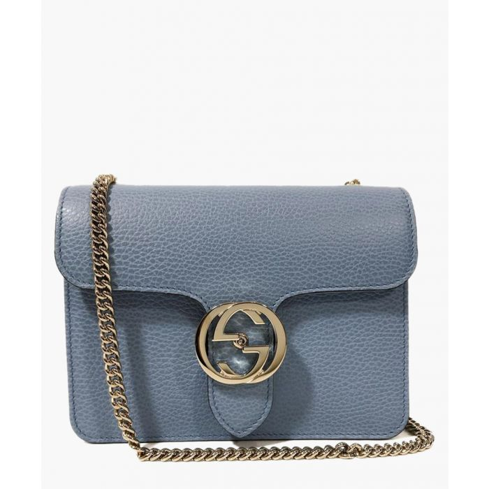 Image for Light blue interlocking leather chain shoulder bag