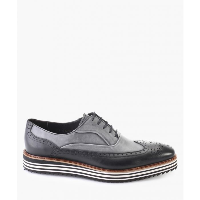 Image for Two-tone denim leather brogue shoes