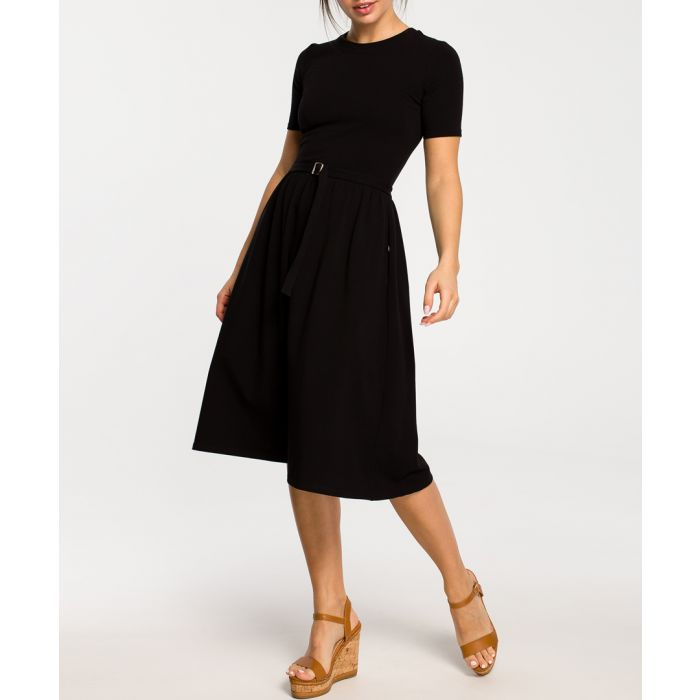 Image for Black cotton blend A-line dress