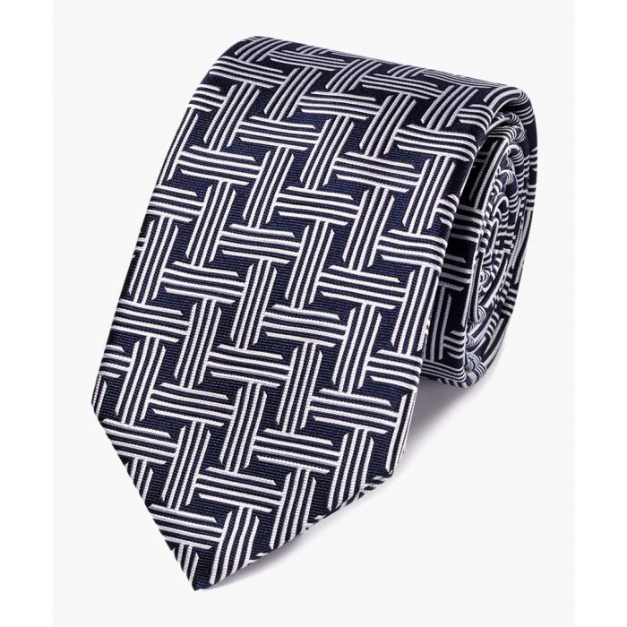 Image for Navy and white silk geometric classic tie