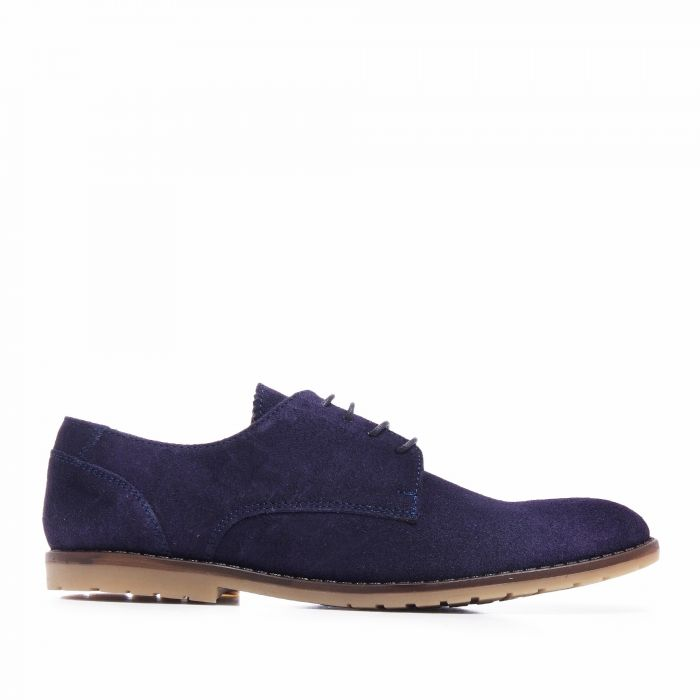 Image for Mens navy leather lace-up blucher shoes