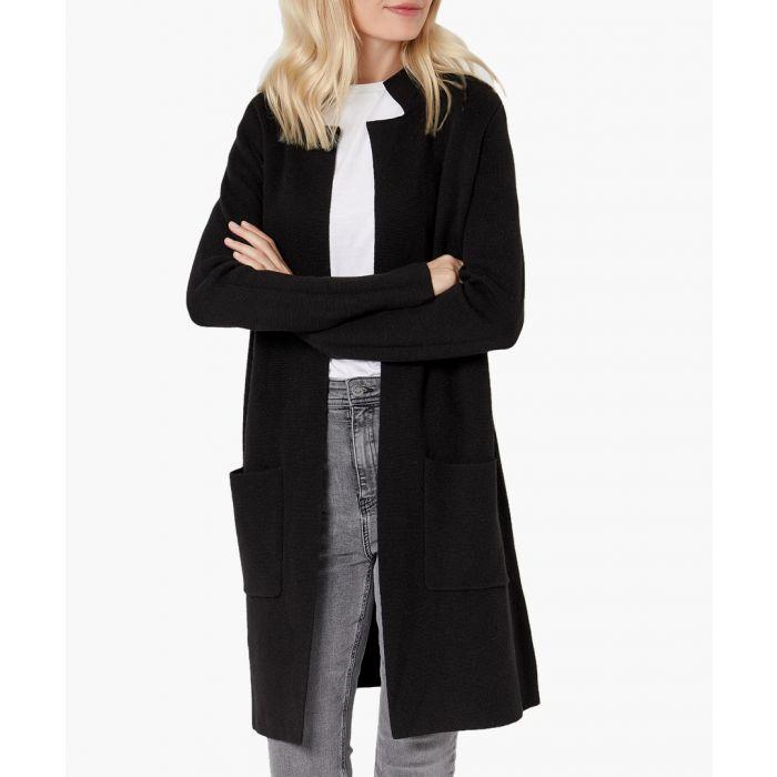 Image for Black merino wool blend cardigan