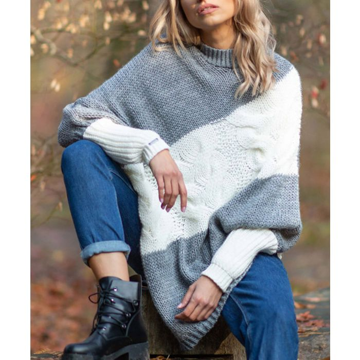 Image for Grey knitted alpaca and wool blend poncho