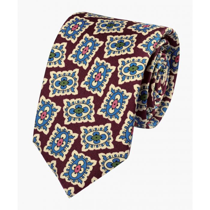 Image for Burgundy and blue silk medallion print English luxury tie