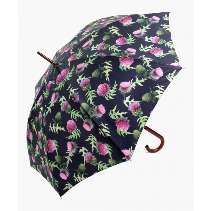 Image for Navy and purple thistle printed umbrella
