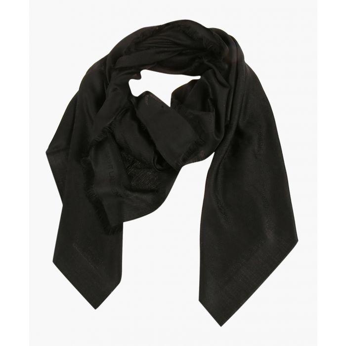 Image for Black wool-silk monogram jacquard scarf