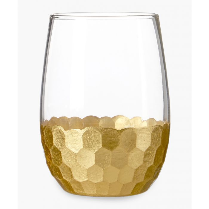 Image for 4pc Astrid gold-tone honeycomb glass tumblers