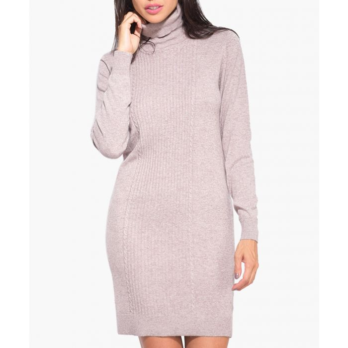 Image for Camel cashmere and silk blend dress