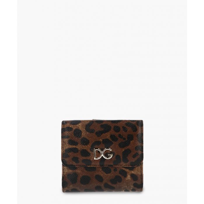 Image for Multi-coloured leather leopard print small wallet