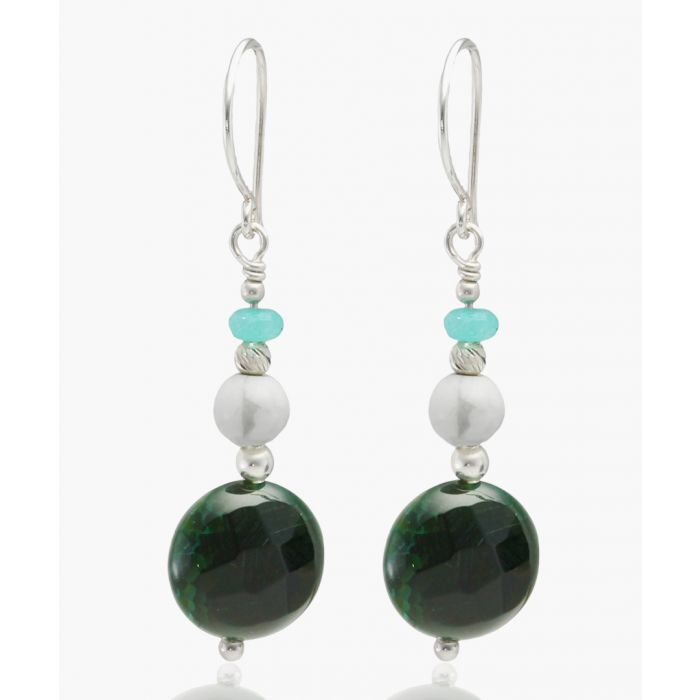 Image for Green agate, white howlite and aventurine dangle earrings