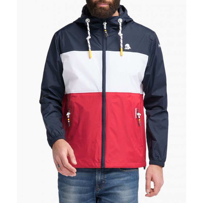 Image for Red navy and white zip-up raincoat