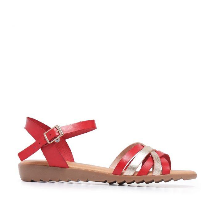 Image for Red Leather Sandals Flip Flop Women Eva Lopez