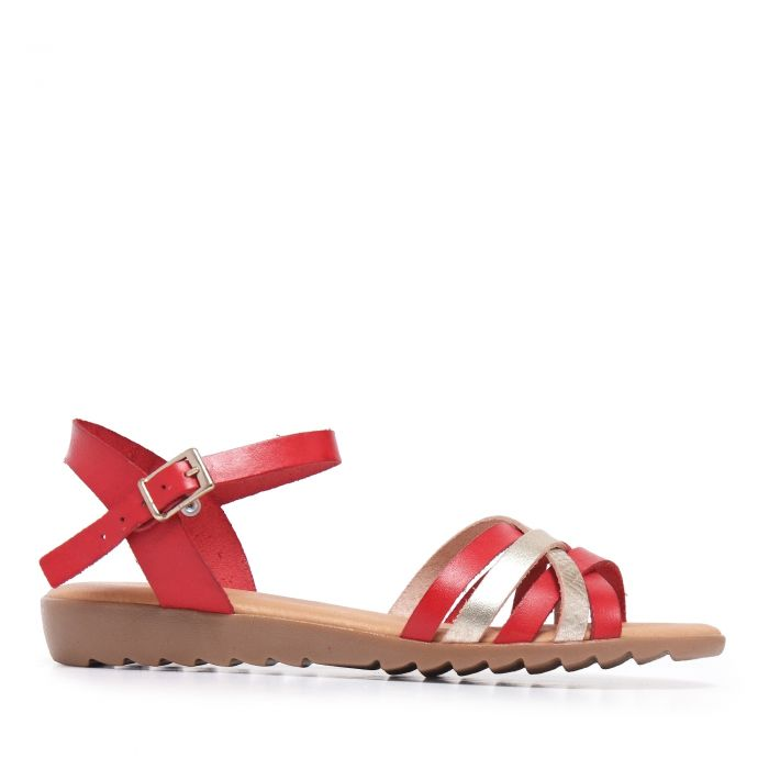 Image for Womens Leather Mutli-Coloured Sandal Red