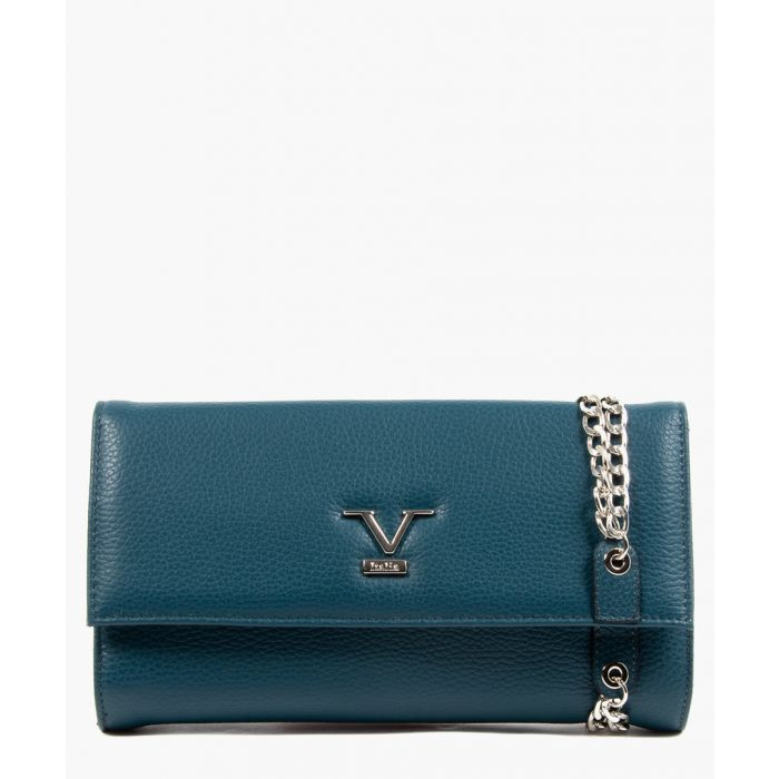 Image for Blue leather clutch bag
