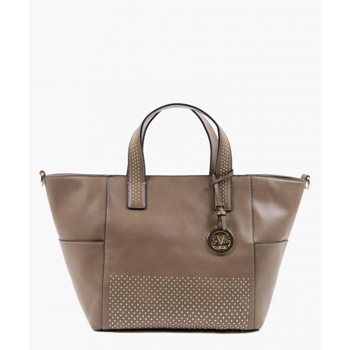 Image for Brown studded shopper bag