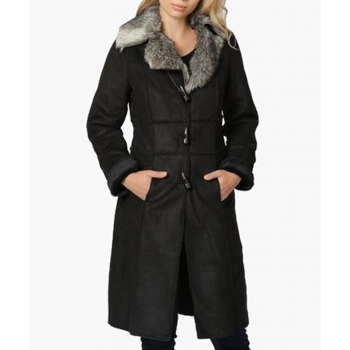 Image for Salome black faux suede collared coat