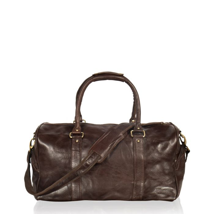 Image for Brown leather tubular holdall