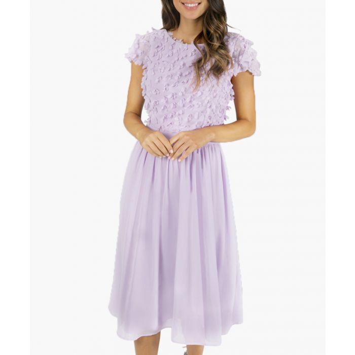 Image for Kiara lilac lace midi dress
