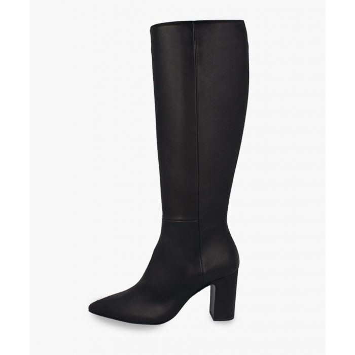 Image for Black leather knee-high heeled boots