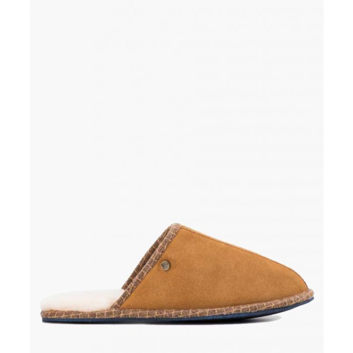Image for Tan leather slippers