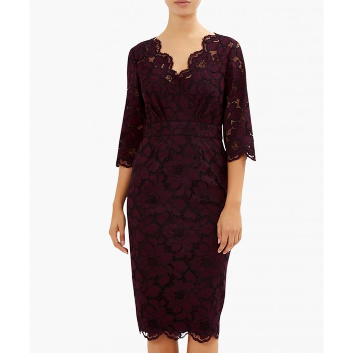 Image for Elodie red lace midi dress