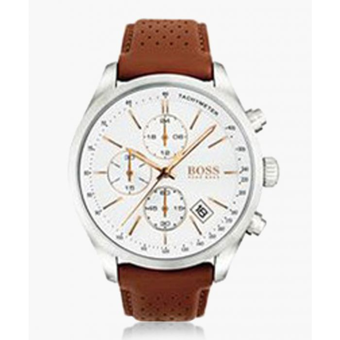 Image for Brown perforated leather strap watch