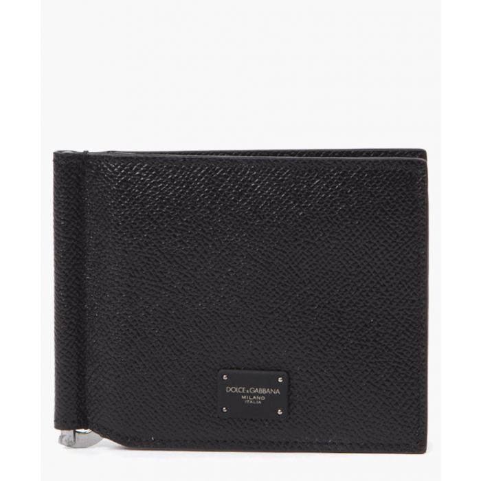 Image for Black leather bi-fold wallet