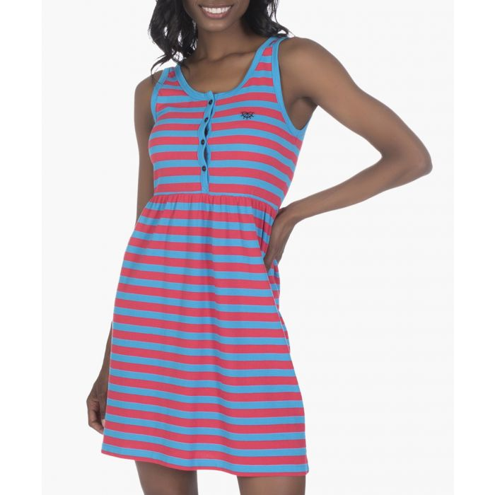 Image for Turquoise and red cotton dress