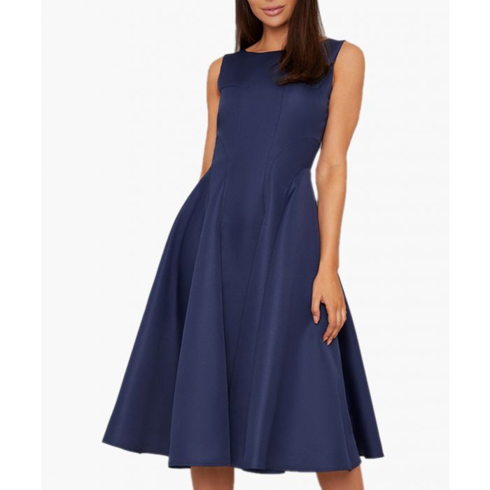 Image for Anthea navy knee-length dress