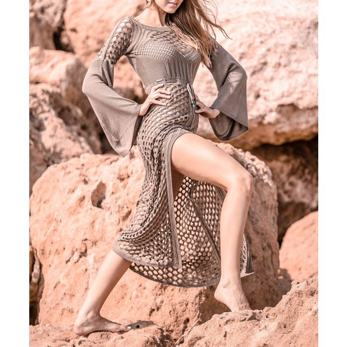 Image for Mocca knitted bamboo dress