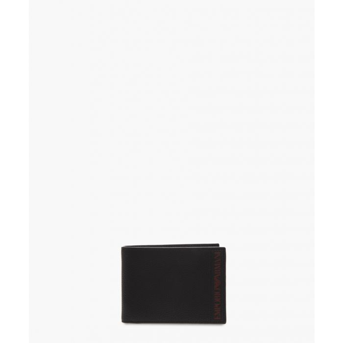 Image for Black faux leather logo wallet