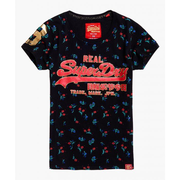 Image for Vintage Logo CNY Floral AOP black cotton entry T-shirt