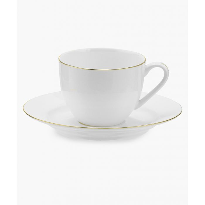 Image for 4pc Serendipity gold-tone band bone china teacup and saucer set
