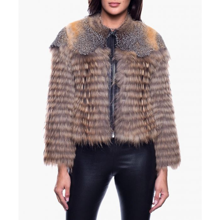 Image for Brunilda multi-coloured fur and leather gilet