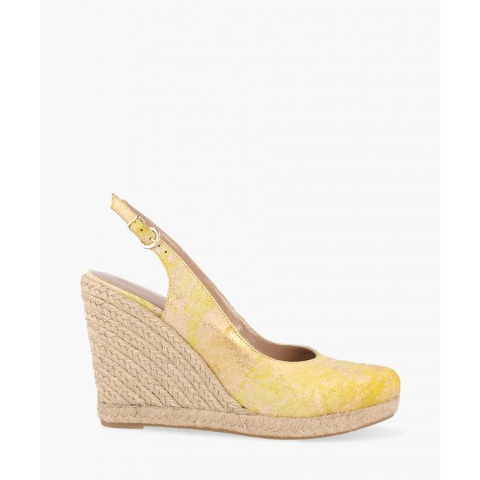 Image for Yellow printed backless wedges