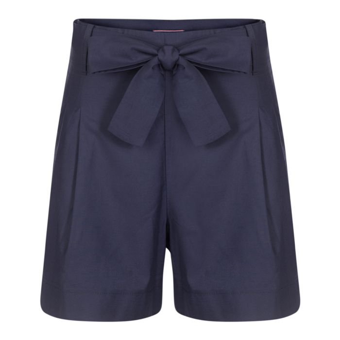 Image for Navy pure cotton bow-waist shorts