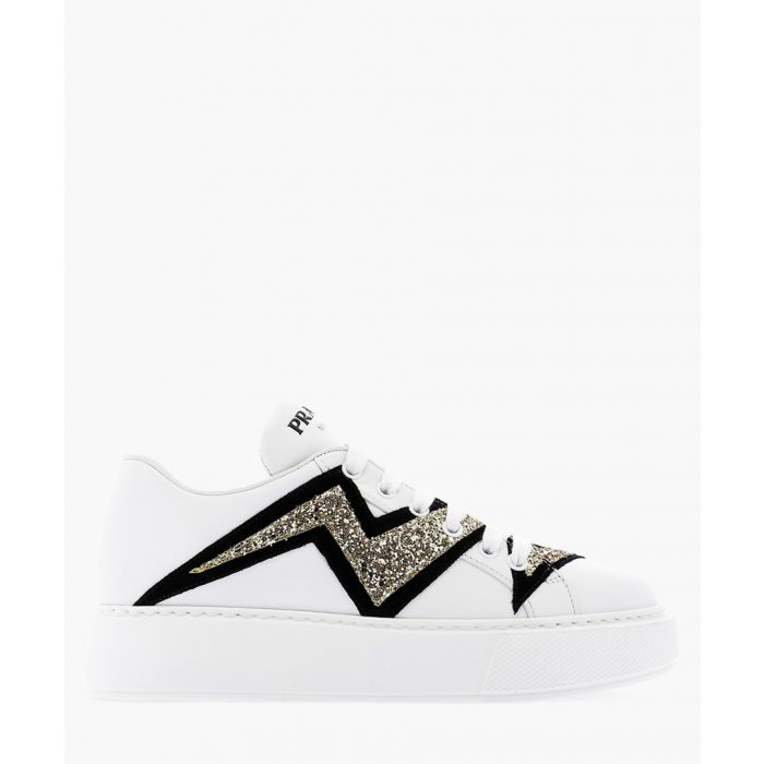 Image for White leather glittered trainers
