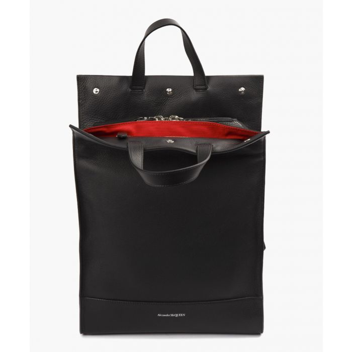 Image for Black full grain leather tote