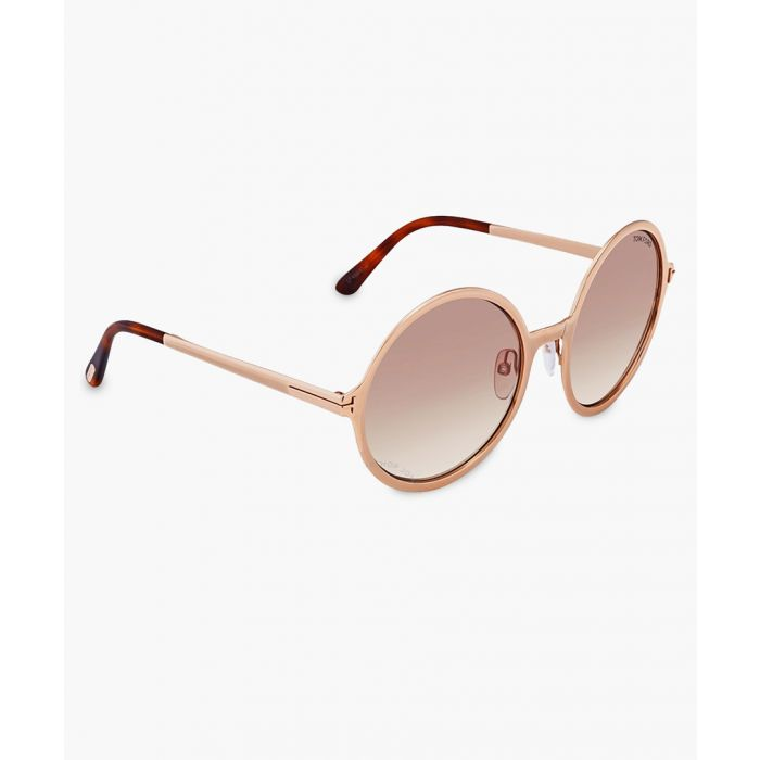 Image for Gold-tone and brown round sunglasses