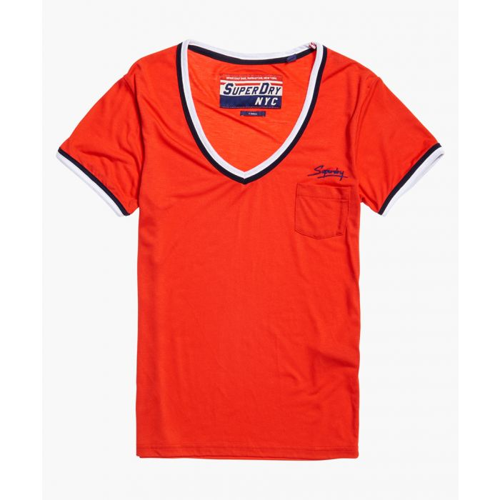 Image for Retro red V-neck T-shirt