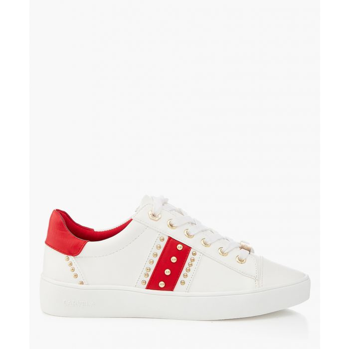 Image for White and red studded sneakers