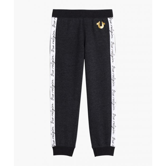Image for Boys charcoal cotton blend logo joggers