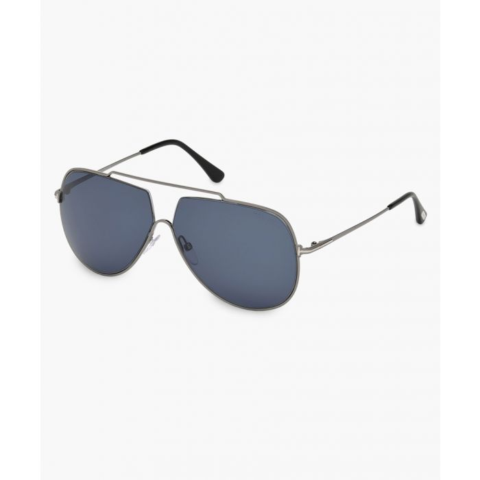 Image for Silver-tone and blue sunglasses