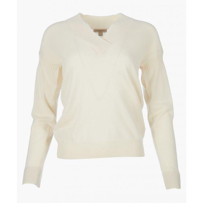Image for White V-neck jumper