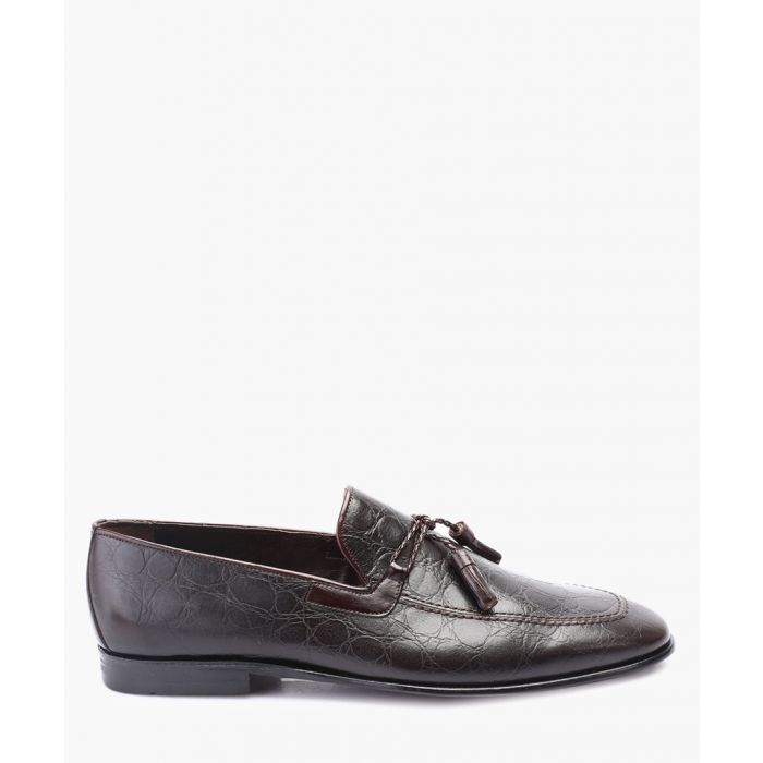 Image for Brown leather tassel front loafers