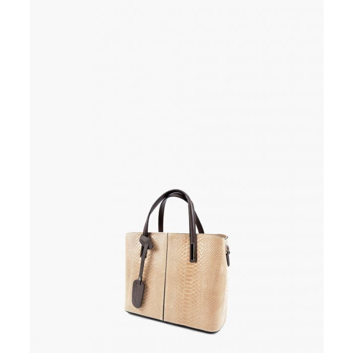 Image for Taupe leather top handle bag