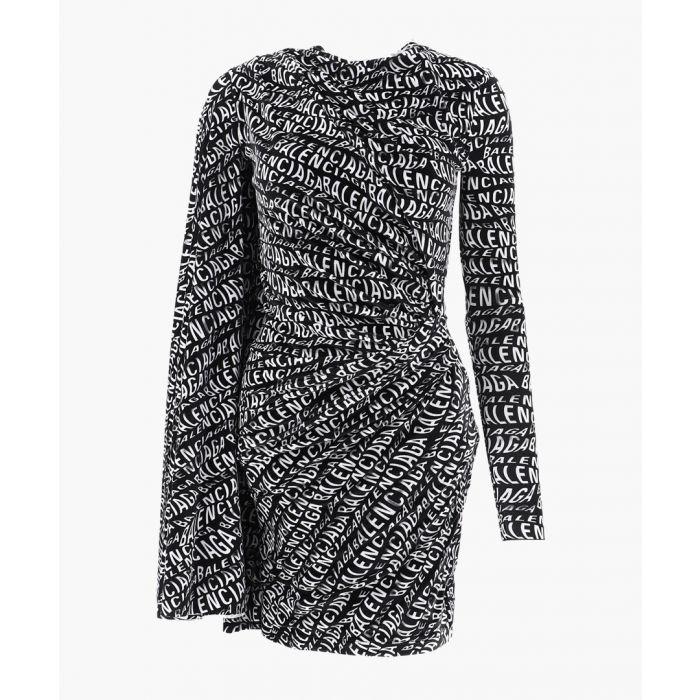 Image for Black logo print mini dress